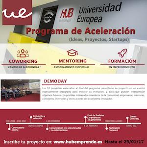 La Universidad Europea convoca la 4ª edición del Programa de Aceleración de Empresas de HUB Emprende