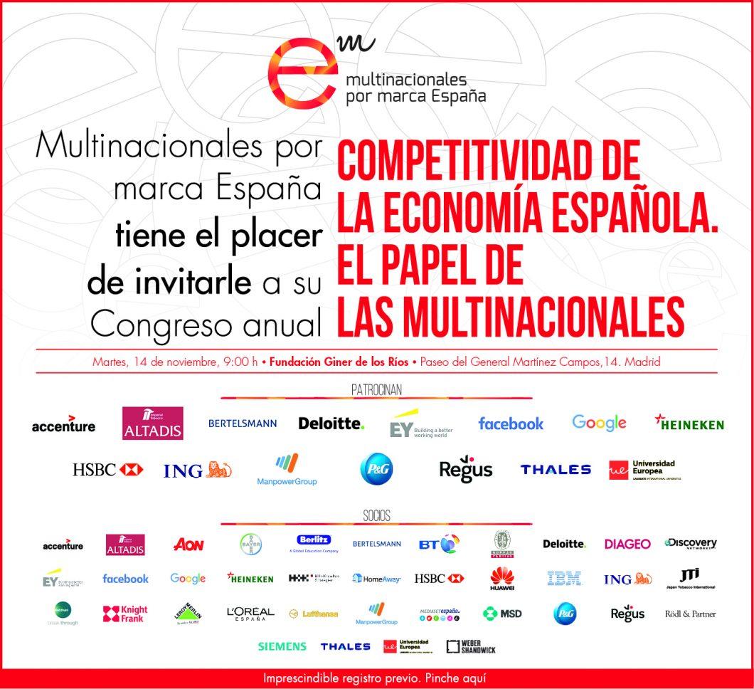 """Congreso Anual 2017 – 14 de noviembre: """"Competitividad de la economía española. El papel de las multinacionales"""""""