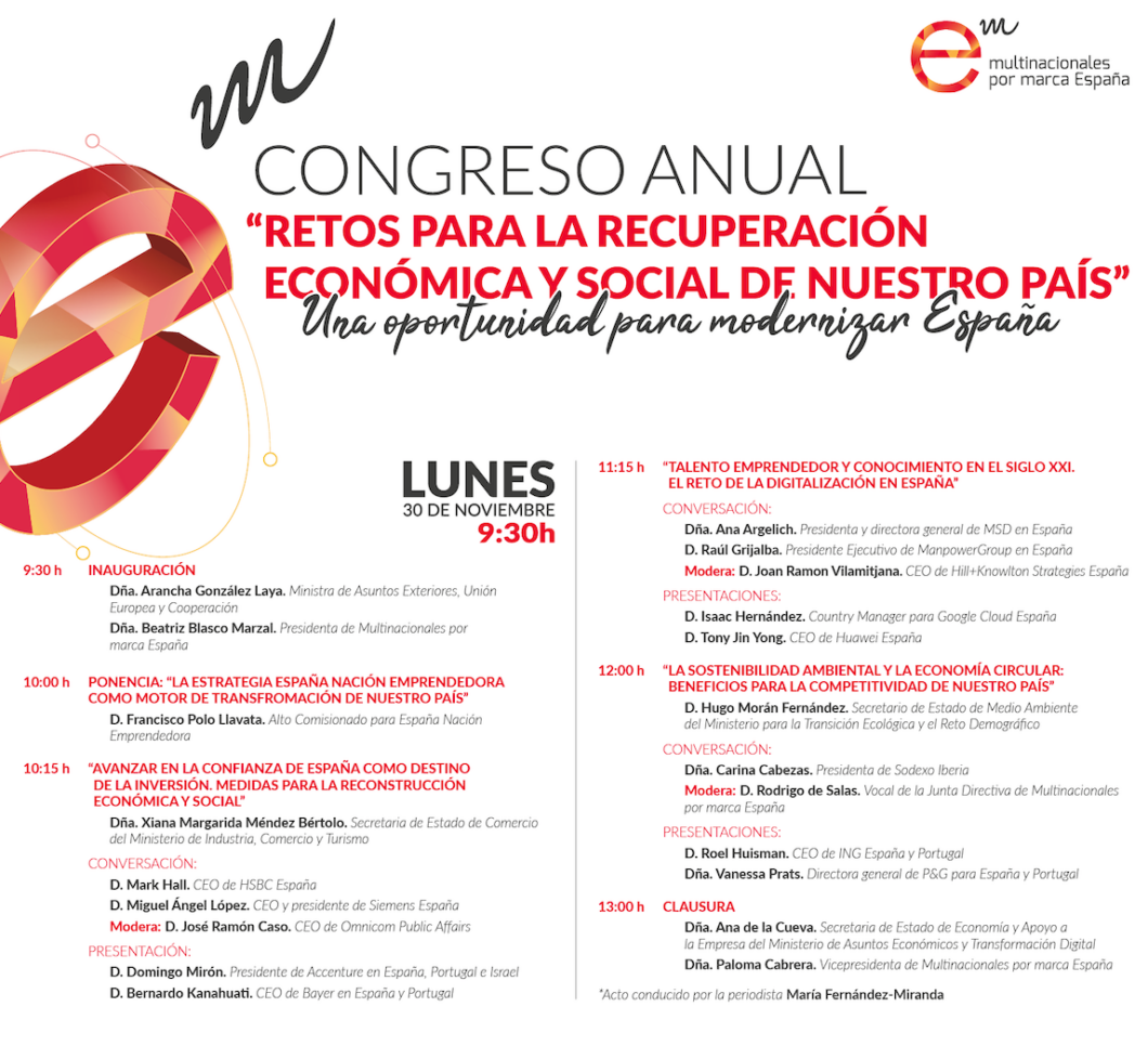 """Congreso Anual de Multinacionales por marca España """"Retos para la recuperación económica y social de nuestro país. Una oportunidad para modernizar España"""""""