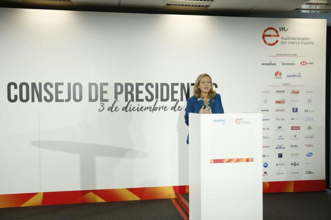 Nadia Calviño preside la reunión del Consejo de Presidentes de Multinacionales por marca España